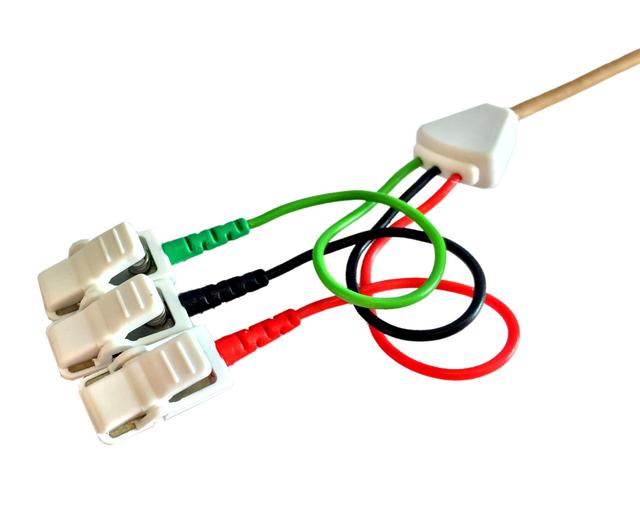 Kabel pro připojení nalepovacích elektrod - 3x klips: 1m