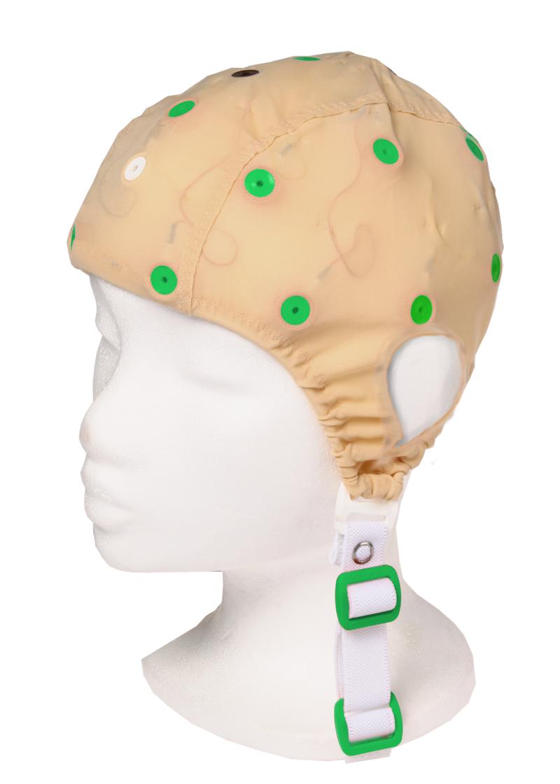 EEG čepice - béžová barva látky s prostupem na uši: XS (47 – 51 cm, zelená)