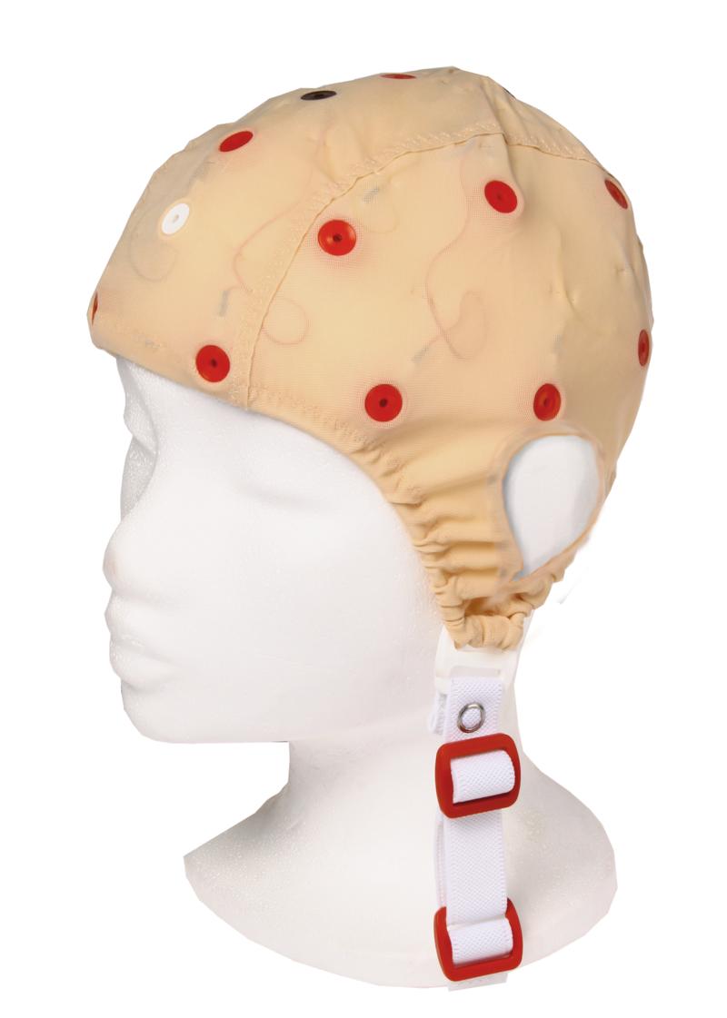 EEG čepice - béžová barva látky s prostupem na uši: M (55 – 59 cm, červená)