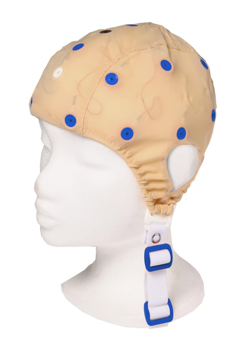 EEG čepice - béžová barva látky s prostupem na uši: L (59 – 63 cm, modrá)