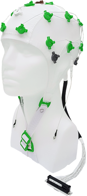 EEG čepice FlexiCAP 19+6 kanálů - nový IFCN standard: XS (47 – 51) cm, zelená, NEOBSAHUJE KABEL PRO PŘIPOJENÍ 45-893
