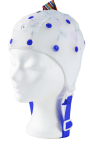 EEG čepice - bílá barva látky  bez prostupu na uši: L (59 – 63 cm) - DOPRODEJ