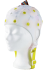 EEG čepice - bílá barva látky s prostupem na uši